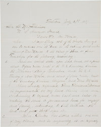 """Tombstone, Arizona: An Important July, 1881 Letter Referencing """"Ike"""" Clanton and William """"Billy"""" Lan..."""