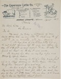Autographs, [Will C. Barnes] ALS to Adolf Sutro on Arizona Ranch Letterhead....