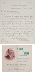 Miscellaneous:Ephemera, Tombstone, Arizona: Scarce July 1881 Letter by Mayor John P.Clum.... (Total: 2 Items)