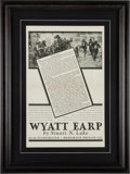 Miscellaneous:Broadside, Wyatt Earp Poster Formerly Owned by Josie Earp!...