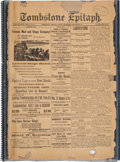"""Miscellaneous:Newspaper, """"Tombstone Epitaph"""": A Scarce September 17, 1880 Issue with Mentionof Wyatt Earp...."""