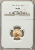Modern Bullion Coins, 2014 $5 Tenth-Ounce Gold Eagle MS69 NGC. PCGS Population (24/29). Numismedia Wsl. Price for problem fre...