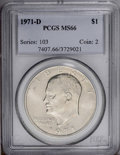 Eisenhower Dollars: , 1971-D $1 MS66 PCGS. PCGS Population (597/13). NGC Census: (373/28). Mintage: 68,587,424. Numismedia Wsl. Price: $100. (#74...