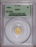 California Fractional Gold: , 1854 $1 Liberty Octagonal 1 Dollar, BG-532, Low R.4, MS61 PCGS.PCGS Population (6/17). (#10509)...