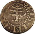1652 6PENCE Pine Tree Sixpence Fine 12 PCGS. Noe-33, Crosby 1-A, R.3. 32.4 grains. A prominent die line (as made) rises...