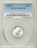 Roosevelt Dimes, 1951-S 10C MS67 Full Bands PCGS. PCGS Population: (81/9). NGC Census: (97/2). CDN: $75 Whsle. Bid for problem-free NGC/PCGS...