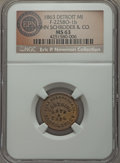 Civil War Merchants, 1863 John Schroder & Co., Detroit, MI, Fuld 225BO-1b, R.8, MS63NGC. ...