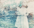 Photographs, Kellie Murphy Klein (American, 20th century). Portrait of a Young Girl, 1997. Cyanotype and gum bichromate. 9-7/8 x 14 i...