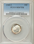 Roosevelt Dimes, 1948-S 10C MS67 Full Bands PCGS. PCGS Population: (131/6). NGC Census: (154/8). CDN: $75 Whsle. Bid for problem-free NGC/PC...
