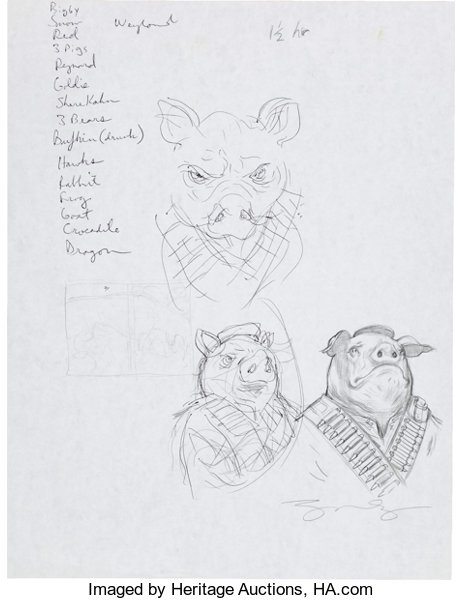 James Jean Fables Animal Farm Cover Preliminary Sketch Original Lot 12065 Heritage Auctions