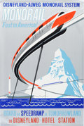 "Animation Art:Poster, Disneyland Park Entrance Poster ""Monorail"" (Walt Disney, 1961)...."