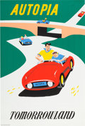 "Animation Art:Poster, Disneyland Park Entrance Poster ""Autopia"" Tomorrowland (WaltDisney, 1955)...."