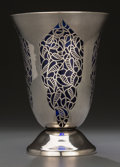Silver Holloware, American:Vases, An Alpha Silver Overlay and Cobalt Glass Vase, circa 1930-1950.Marks: ALPHA, 1000/1000, (effaced mark). 7-1/2 inches hi...