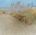 Fine Art - Painting, European:Contemporary   (1950 to present)  , Andre Bourrie (French, b. 1936). Carrassone. Oil on canvas.31-1/2 x 31-1/2 inches (80.0 x 80.0 cm). Signed lower right:...