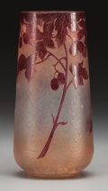 Art Glass:Legras, A Legras Enameled and Acid-Etched Glass Berry Vase, Saint-Denis,France, circa 1910. Marks: Legras. 8 inches high (20.3 ...
