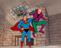 Animation Art:Production Cel, Superman, Lex Luthor, and Kids TV Commercial Production Cel Setupand Master Production Background (Sunnyland Refineries, 1981...