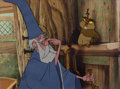 Animation Art:Production Cel, The Sword in the Stone Merlin and Archimedes Production CelSetup (Walt Disney, 1963)....