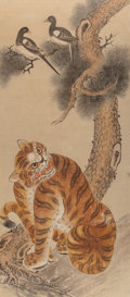Asian:Other, Korean School (20th Century). Tiger and Magpies (Hojakdo).Ink and color on fabric. 52-1/2 x 22-1/2 inches (133.4 x 57.2...