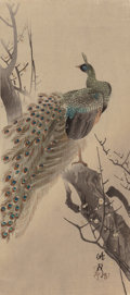 Fine Art - Work on Paper:Print, Japanese School (19th/20th Century). Peacock and Bridge (two works). Woodblock in colors, each. 14-3/8 x 6-1/2 inche... (Total: 2 Items)