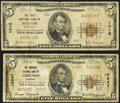 National Bank Notes:Colorado, Denver, CO - $5 1929 Ty. 1 The First NB Ch. # 1016. Chicago, IL -$5 1929 Ty. 2 The Lawndale NB Ch. # 10247. ... (Total: 2 notes)