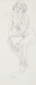 Fine Art - Work on Paper:Drawing, Jules Pascin (American, 1885-1930). Female Nude. Pencil onpaper. 10-1/4 x 4-1/2 inches (26.0 x 11.4 cm) (sight). Signed...