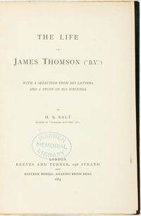 "H. S. Salt. The Life of James Thomson (""B.V.""). London: Reeves and Turner, and Bertr"