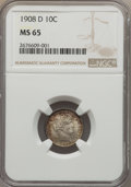 Barber Dimes: , 1908-D 10C MS65 NGC. NGC Census: (18/12). PCGS Population (13/16).Mintage: 7,490,000. Numismedia Wsl. Price for problem fr...