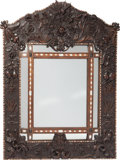 Decorative Arts, Continental:Other , A Continental Carved Wood Mirror Frame with Mother-of-Pearl Inlay,19th century. 65 h x 51 w inches (165.1 x 129.5 cm). ...