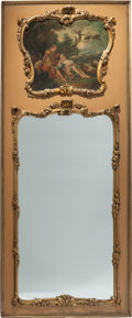 Decorative Arts, Continental:Other , A Large Louis XV-Style Parcel Gilt and Painted Trumeau Mirror,circa 1900. 93 h x 43-1/4 w inches (236.2 x 109.9 cm). PROP...