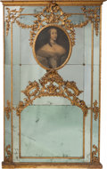 Furniture : Continental, A Monumental Louis XVI-Style Venetian Carved Giltwood MountedPortrait Mirror, 19th century. 95 h x 55 w x 2-1/2 inches deep...