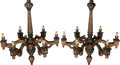 Decorative Arts, Continental:Lamps & Lighting, A Pair of Neoclassical-Style Partial Gilt and Painted WoodSix-Light Chandeliers, 20th century. 50 h x 42 d inches (127 x10... (Total: 2 Items)