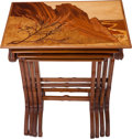 Furniture : French, A Set of Four Gallé Marquetry Nesting Table, Nancy, France, circa1900. Marks to all: Gallé. 28 h x 23 w x 15 d inches (...(Total: 4 Items)