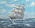 Fine Art - Painting, European:Contemporary   (1950 to present)  , Michael J. Whitehand (British, b. 1941). The American Merchantman Euphrasia Battling the Elements with Clipper Well Astern...