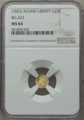 California Fractional Gold , (1853) 25C Liberty Round 25 Cents, BG-222, R.2, MS64 NGC. NGCCensus: (24/21). PCGS Population (102/17)....