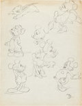 animation art:Model Sheet, Mickey Mouse, Minnie Mouse, and Abner Animator's Practice ModelSheet (Walt Disney, 1936)...