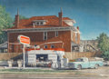 Works on Paper, W.H. Halstead (American, 20th Century). Colfax Conoco. Oil glazes and pencil on paper laid masonite. 29-1/4 x 40 inches ...