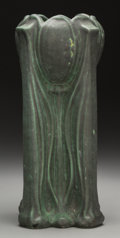Ceramics & Porcelain, American:Modern  (1900 1949)  , A Teco Dark Green Pottery Tulip Vase, Crystal Lake, Illinois, circa1910. Marks: (double stamped) TECO. 12 inches high (...