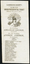 Miscellaneous:Other, Lincoln-Johnson Lawrence County, Ohio Union Presidential TicketHandbill 1864.. ...