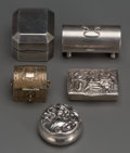 Silver Smalls:Other , Five Small Silver Stamp Boxes, Various makers, 20th century. 1-1/4inches (highest) (3.2 cm). 3.74 troy ounces (gross)... (Total: 5Items)