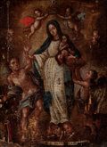 Fine Art - Painting, European:Antique  (Pre 1900), Spanish Colonial School. The Virgin holding the Christ Child,crowned by angels. Oil on panel. 11 x 8 inches (27.9 x 20....