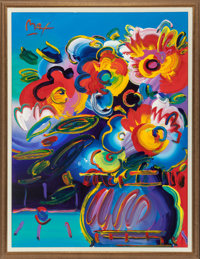 Peter Max (American, b. 1937) Vase of Flowers from Series XVII (Max 66676) Oil on canvas 48 x 36