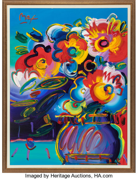 Peter Max (American, b. 1937) Vase of Flowers from Series XVII (Max 66676) Oil on canvas 48 x 36 inches (121.9 x 91.4...