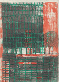 Fine Art - Work on Paper:Print, Friedensreich Hundertwasser (Austrian, 1928-2000). The Face and Skyscraper with Trees, from the Rotaprint Portfoli...