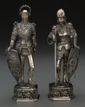 Silver Holloware, Continental, A Pair of German Silver and Bone Figures: Knights, 20thcentury. Marks: GERMANY, 800, (crown), (effaced mark...(Total: 2 Items)