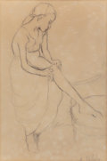Fine Art - Work on Paper:Drawing, Suzanne Valadon (French, 1865-1938). Female figure dressing.Pencil on paper. 11-1/2 x 7-3/4 inches (29.2 x 19.7 cm) (si...