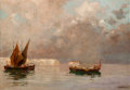 Paintings, Edoardo Dalbono (Italian, 1843-1915). Seascape at Dusk. Oil on canvas. 13 x 18 inches (33 x 45.7 cm). Signed lower right...