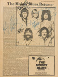 Music Memorabilia:Autographs and Signed Items, Moody Blues Signed Magazine Page in Framed Display (1983). ...
