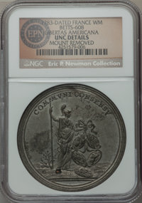 1783 Peace of Versailles, Libertas Americana, Betts-608 -- Mount Removed -- NGC Details. Unc