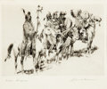 Art, Edward Borein (American, 1872-1945): Three Etchings DepictingHunters and Warriors.... (Total: 3 Items)