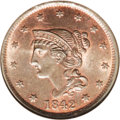 Large Cents: , 1842 1C Large Date MS66 Red and Brown NGC. Ex: Rasmussen. N-5, DieState B, High R.3. The late die state of these dies. Amo...